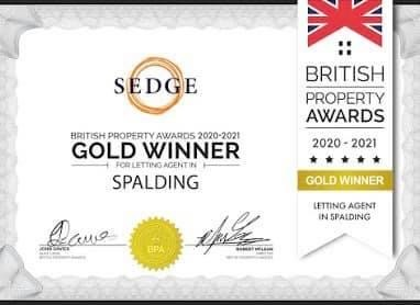 The British Property Awards 2020-2021 GOLD WINNER for Letting Agent in Spalding